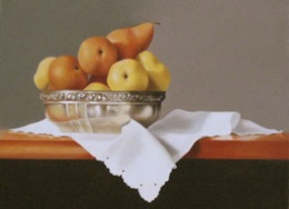 fine art paintings for sale: still life oil painting lilli's silver bowl by Leah Kristin Dahlgren