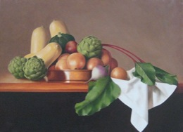 "fine art paintings for sale: still life oil painting ""Still Life with Artichokes"" by Leah Kristin Dahlgren"