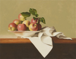 "fine art paintings for sale: still life oil painting ""Apples in a Bowl"" by Leah Kristin Dahlgren"