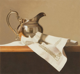 fine art paintings for sale: still life oil painting  - silver pitcher  by Leah Kristin Dahlgren