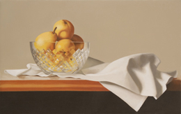 "fine art paintings for sale: still life oil painting ""Pears in a Crystal Bowl"" by Leah Kristin Dahlgren"
