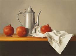 "fine art paintings for sale: still life oil painting ""Pewter Coffeepot with Pomegranates"" by Leah Kristin Dahlgren"