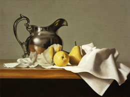 "fine art paintings for sale: still life oil painting ""Silver Pitcher with Pears"" by Leah Kristin Dahlgren"
