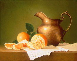 fine art paintings for sale: still life oil painting juliannes pitcher by Leah Kristin Dahlgren