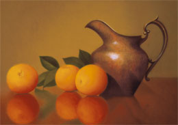 "fine art prints for sale: still life print ""Oranges in Reflection\"" by Leah Kristin Dahlgren"