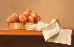 fine art paintings for sale: still life oil painting - peaches in a copper pan by Leah Kristin Dahlgren