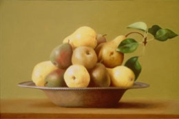 fine art paintings for sale: still life oil painting - pears in a bowl by Leah Kristin Dahlgren