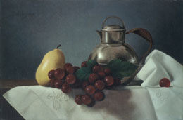 "still life oil painting ""fruit and pewter pitcher""  by leah kristin dahlgren"